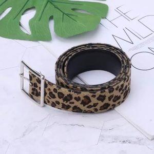 "Leopard belt 40"" long animal print accessory"